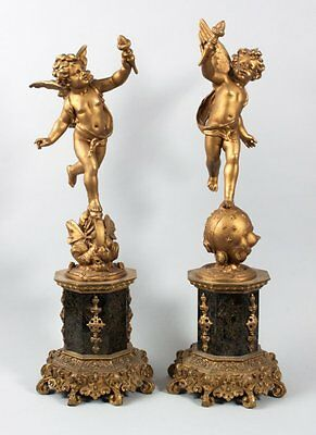 "Pr 19th c French Bronze/marble  Emile Bruchon. ""Amour Vagabond,"" Putti/Cherubs"