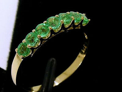 R183 Genuine 9ct Solid Gold Natural Emerald Eternity Ring 7-Stone size M