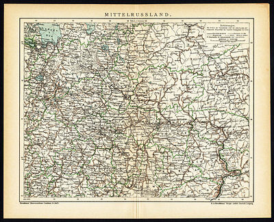 Antique Map-CENTRAL RUSSIA-RUSSIAN EMPIRE-Brockhaus-1895