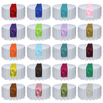 """10/20pcs 12"""" x 108"""" Satin Table Runners Wedding Party Banquet Decorations"""