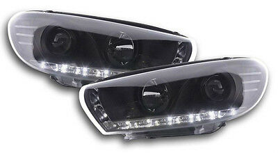 Volkswagen VW Scirocco 08-13 Black DRL Devil Angel Eyes Front Headlights Lights