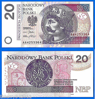 Poland 20 Zlotych 2012 UNC Prefix AA Central Europe Free Shipping Worldwide Ppal