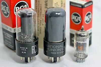 NOS RCA 5Y3GT, 1959 6V6GT BLACKPLATE D Getter, 12AX7A for FENDER 5F1 CHAMP AMP