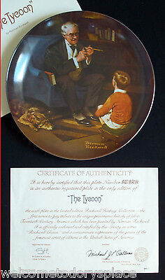 "Norman Rockwell ""The Tycoon"" Collectors Plate Heritage Collection 1982 Knowles"