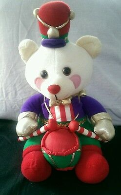 "Avon Vintage 1994 Christmas White Drummer Bear Plush 11"" NO TAGS"