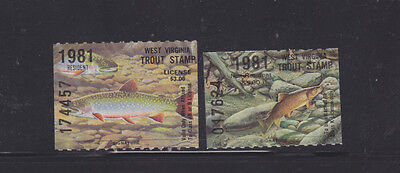 State Hunting/Fishing Revenues - WV - 1981 Trout Res/NonRes ($3/5) - MNH Set/2