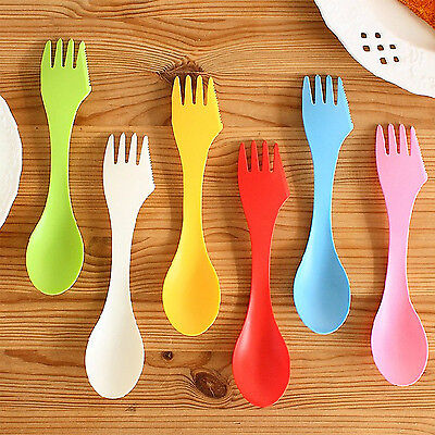 Kitchen Plastic Camping Hiking Travel Out Spork Utensil Spoon Fork Knife Cutlery