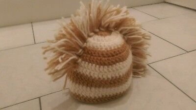 Boys Mohican/mohawk  Striped Hat Brown/cream  Aged 5/8 Brand New
