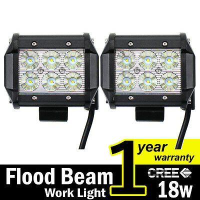 2 x 18W CREE LED Work Light Bar 4WD Flood Beam Offroad Driving Fog Lamp ATV SUV