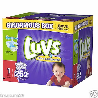 Luvs Ultra Leakguards Diapers, Size 1, 252 Count, 8-14lbs