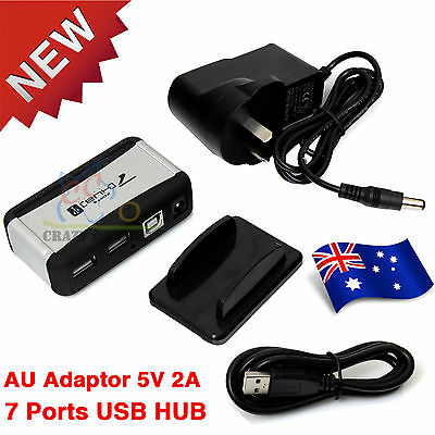 7 Port USB 2.0 HUB Powered + AU AC Adapter Cable High Speed Desktop Extender PC