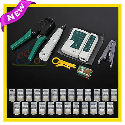 Lan Network Cable Tester Crimper Punch Down Tool Stripper Kit CAT5 CAT6 RJ45