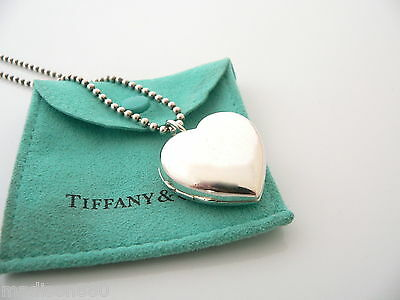 bde142cc9 Tiffany & Co Silver Large Heart Locket Necklace Pendant 34 In Bead Chain  Pouch