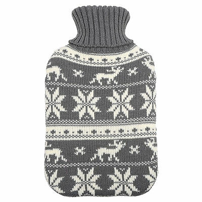 Hot Water Bottle With Knitted Grey Reindeer Design Cover - Great Christmas Gift