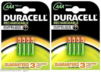 8 x Duracell AAA 750 mAh Batteries Rechargeable Stay Charged HR03 - 2 packs of 4