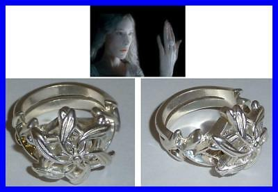 LOTR Lord Rings GALADRIEL RING NENYA OFFICIAL Silver Swarowski CERTIFICATE + BAG
