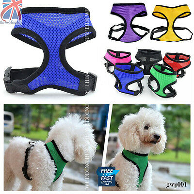 Adjustable Padded Dog Harness Pet Mesh Fabric Vest Puppy Lead Leash Clip gwp001