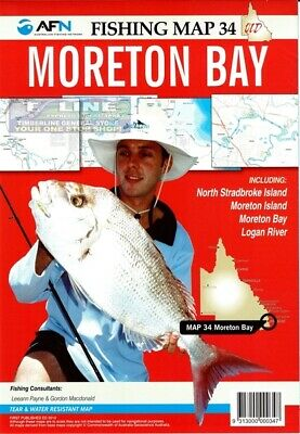 AFN Fishing Maps Moreton Bay (QLD) Map 34 Tear & Water Resistant Map