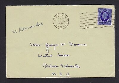 Great Britain 1903/36 Two Ship Covers Ss Normandie & Ss Teutonic To Usa
