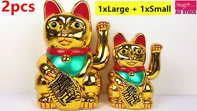 2x Japanese Maneki Neko Fortune Lucky Cat 20+15cm Battery Powered Waving Arm YW