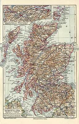Antique Map-SCOTLAND-GREAT BRITAIN-Meyers-1895