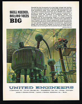 1964 United Engineers Electricity High Voltage Power Station Components  Ad