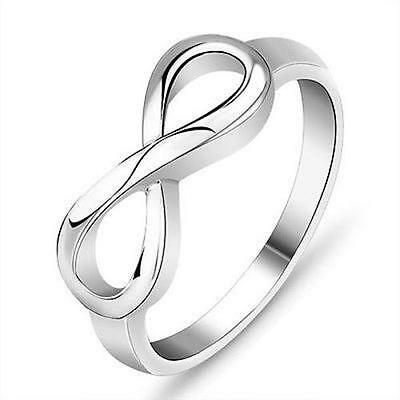 """Size 6-9 Silver Ring Wedding Engagement Infinity """"8"""" Lucky Band"""