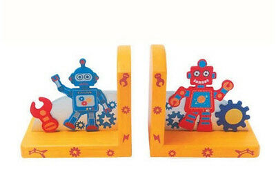 NEW Wooden Robot Book Ends Bookends Childrens Decor