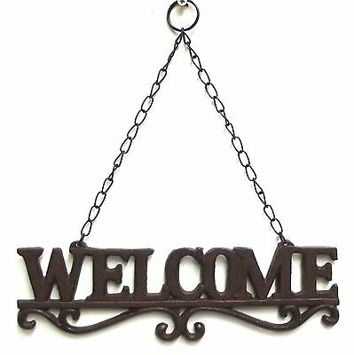 Metal Welcome Sign Cast Iron Rustic Wall Art Hanging Ornament Garden French 1900