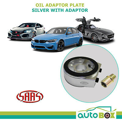 SAAS Oil Adaptor Plate for Oil Pressure or Temperature Gauge Silver with Adaptor