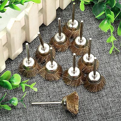 10pcs 25mm Brass Wire Wheel Brush Bowl Type Tool for Rotary Power Grinder Use
