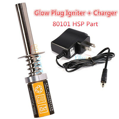 80101 Rechargeable Glow Plug Igniter Starter + Charger Fr HSP Nitro RC Car Plane