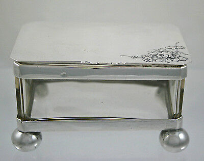 White Metal and Glass Dressing Table Box Possibly French