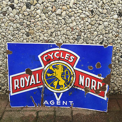 ancienne plaque emaillee double face cycles royal nord eur 162 00 picclick fr. Black Bedroom Furniture Sets. Home Design Ideas