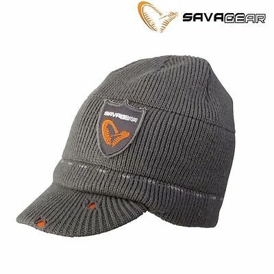 Savage Gear Knitted Grey Beanie With Brim  Hat Cap 46500