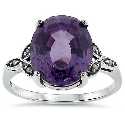 6.5 CT COLOR CHANGE LAB ALEXANDRITE .925 SILVER VICTORIAN DESIGN RING Sz 5, #139