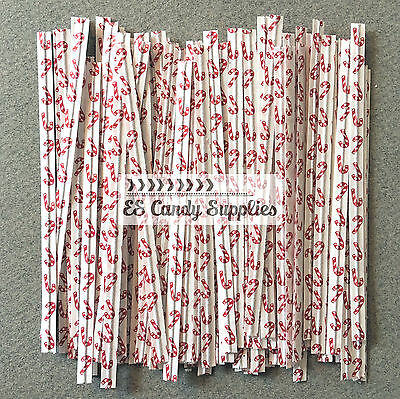 100 Candy Cane Twist Ties - 3 1/2""