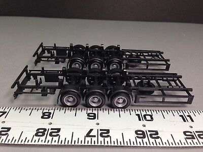 HO 1/87 Promotex Herpa # 5463  - 3 axle trailer Chassis - Package of (2)