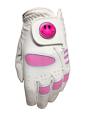 New Ladies Golf Glove. White / Pink. Size Medium. Smiley Ball Marker.