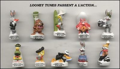LOONEY TUNES MOVIE French Set 10 Cute PORCELAIN Mini Figures Ultra RARE Mint NEW