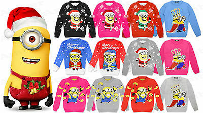 Boys Girls Kids Minion Despicable Christmas Xmas Banana Novelty Jumper Knitted