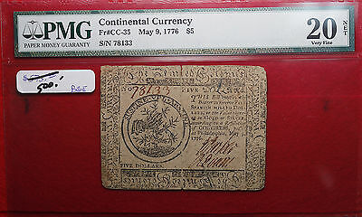 1776 Continental Currency Fr#CC-35 $5 Graded VF20 NET by PMG