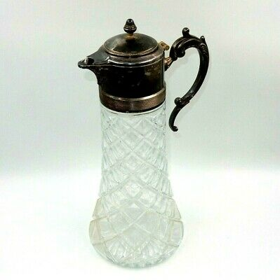 "Vintage Cut Glass & Silverplate Lidded 14"" Tall Pitcher - Made In Italy"