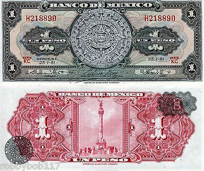 MEXICO 1 Pesos Banknote World Money Currency BILL N & C America Note p59g 1961