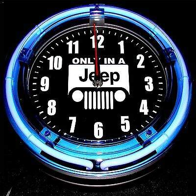 """Only In A Jeep Logo 11"""" Blue Neon Clock - New !!!!"""