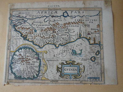 1608 engraved  MAP OF AFRICA by Mercator Hondius 17th century (guinea)