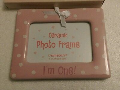 Baby Girl 1st First Birthday Ceramic photo Picture Frame Boxed Keepsake Gift