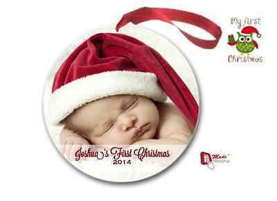 PERSONALISED BABY'S MY FIRST 1ST CHRISTMAS TREE DECORATION - PHOTO Ideal Gift