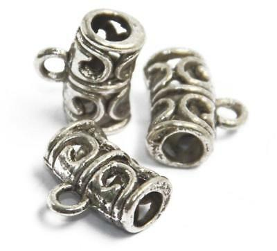 50PCS Bulk Loop Bail Antique Silver Big Hole Spacer Beads Pendant Findings