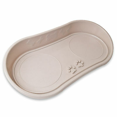 Dog Cat Bowl Tray Pet Plastic Paw Design No Mess